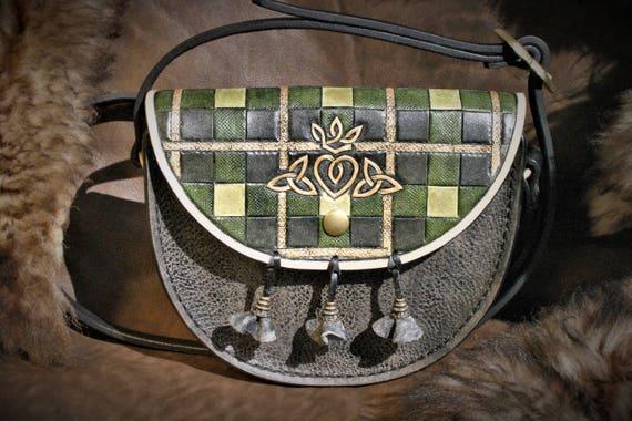 Leather handbag, purse, carved and tooled, outlander inspired, Sassenach, scottish sporran, celtic, claire fraser