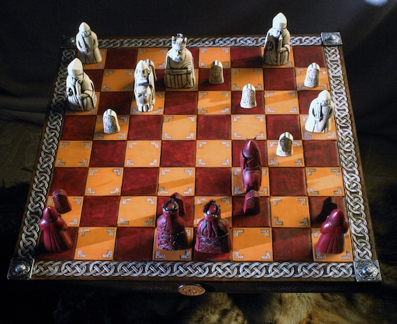 Chess Celtic medieval chess board tooled leather frame tracery