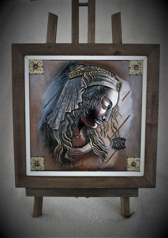 Painting on art leather, carved, tooled leather, Medieval, Spain, Al andalus
