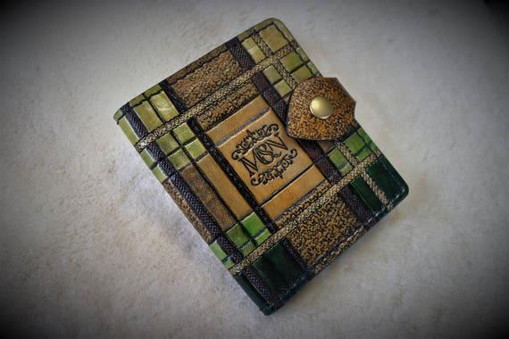 Leather wallet, credit card wallet, deluxe wallet, tartan style, scottish, celtic, outlander, sassenach