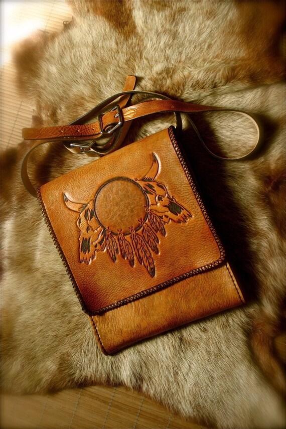 Shoulder bag Messenger bag mens tooled leather Western style country gift