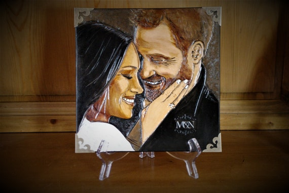Harry & Meghan, art portrait, leather painting, carved leather, royal wedding,  memory, love story, modern fairy tail