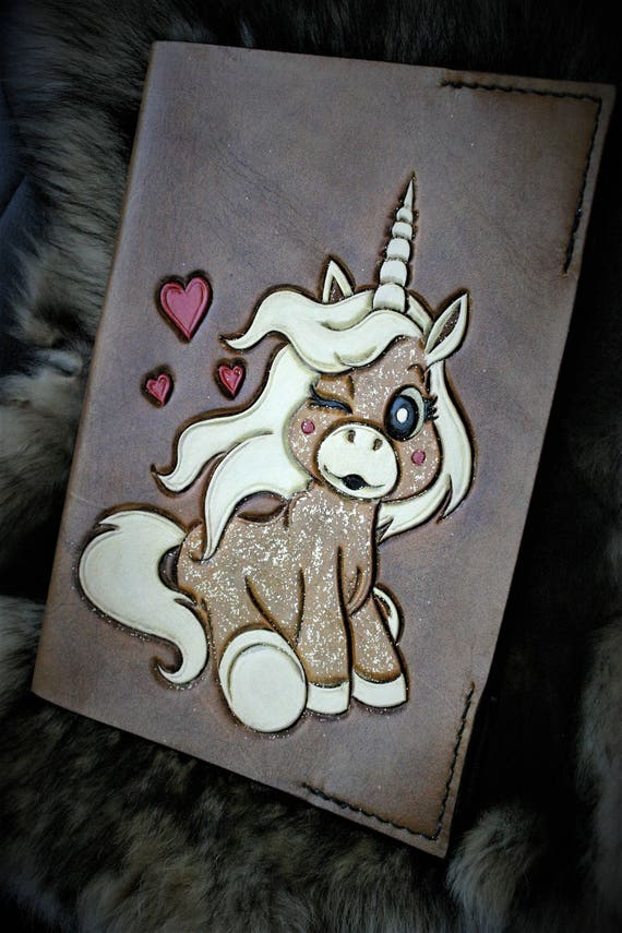 Leather book cover, health book, birth gift, for children, unicorn, customizable