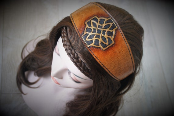 Celtic cross headband, leather hairstyle, fantasy haistyle