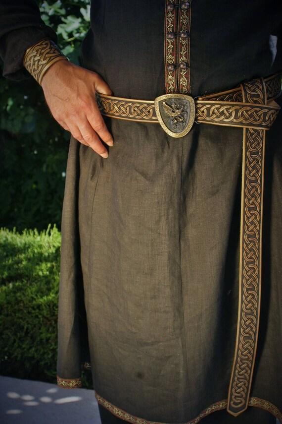 Exceptional belt antique medieval Celtic fantasy embossed gold and black leather