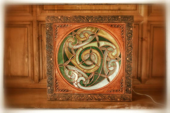 """Stained glass light fixture, lamp vitraillee mood lamp, """"Stained glass box"""", Celtic, tooled leather framed, home decor"""