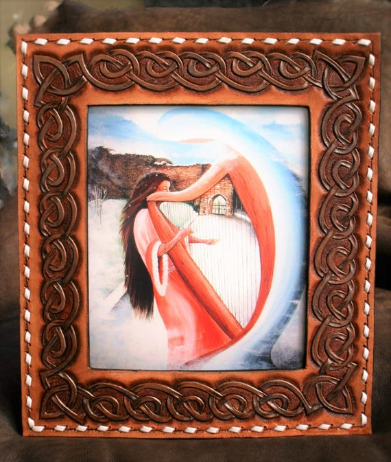 Drawing Celtic embossed leather and musician mystical art print picture frame, Breton inspired legend Broceliandre