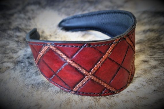 Celtic tartan leather headband, fantasy hairstyle, red and gold