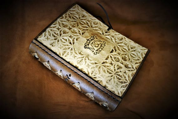 Mini journal, planner, booknote, leather and gold, medieval, renaissance style, for bag or desk