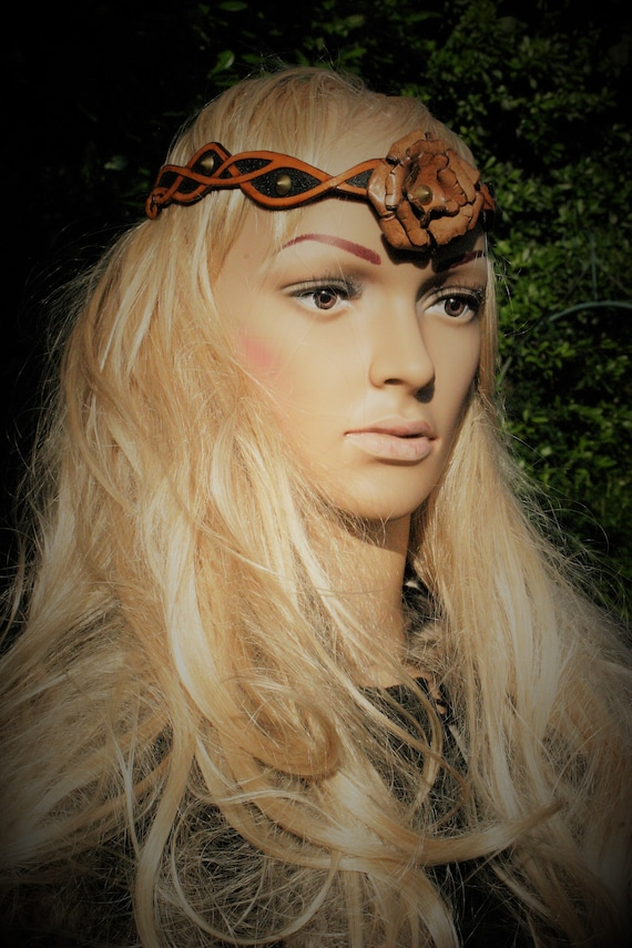 Headband and belt, carved leather, elven fairy fantasy style, 2 in 1