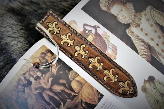 Leather bookmark, fleur de lys, royal lily, reader's gift, desk art