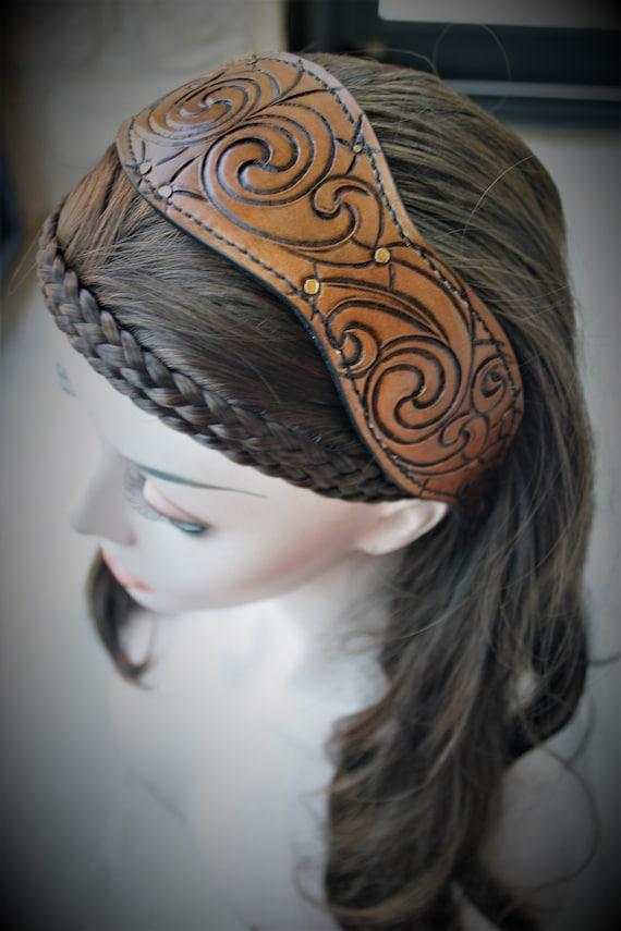 Fantasy headband, paganfolk hairstyle, antic pattern, leather headband, UNIQUE