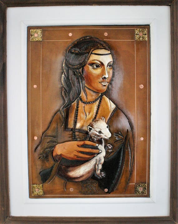 Renaissance painting, woman portrait, made on carved leather, Lady hermin, Da Vinci, with gold leaves