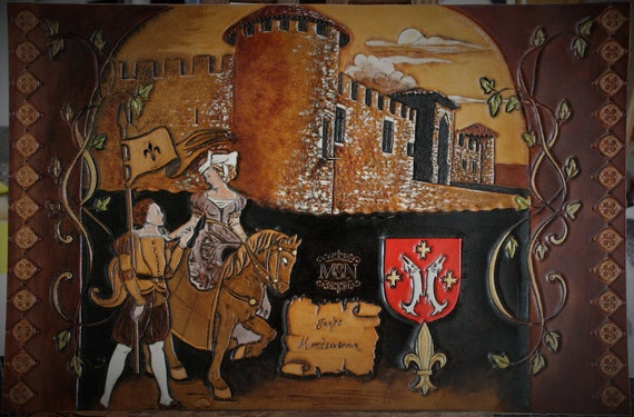 carved leather painting, illustration, medieval castle, fantasy renaissance inspired, once upon a time, history tail