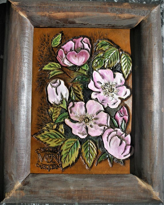 Wall decoration, painting and carving on leather, flowers, briar, nature, country, wild