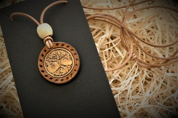 leather medal necklace pendant, tree of life, embossing leather, paganfolk style