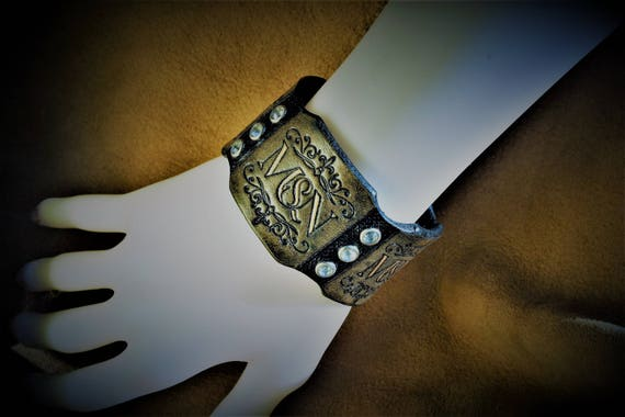 Leather bracelet, glam chic, with strasses, for woman