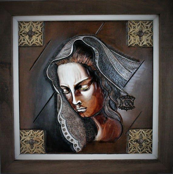 painting, Art on leather, religious, medieval inspiration,Mater Dolorosa, faith, Virgin Mary