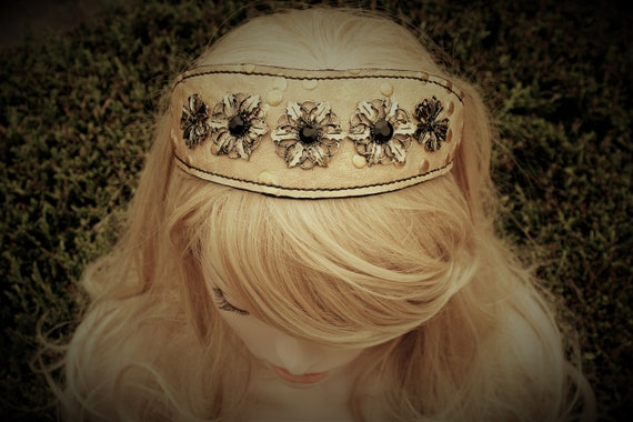 Leather headband, sun flowers, gold and black, summer hairstyle,
