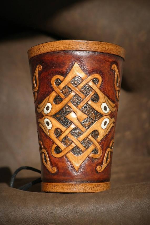 Bracelet arm Cannon unique Celtic medieval archer leather tooled