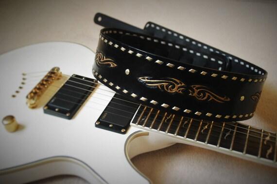 Shoulder tribal Rock black gold tooled leather guitar strap