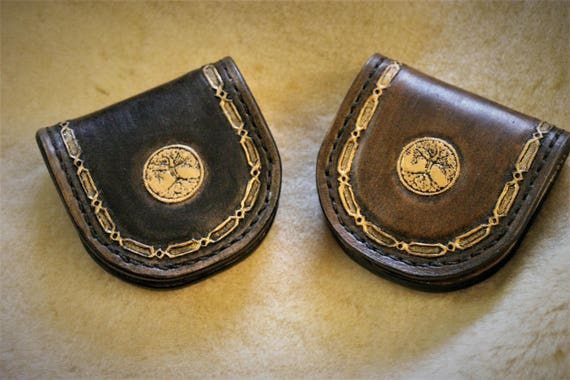 Coin purse, pouch, pocket coin holder, leather, celtic, tree of life, paganfolk