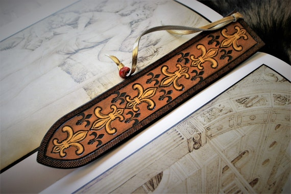 Leather bookmark, fleur de lys, royal lily, embossed, carved leather, unique, ideal gift