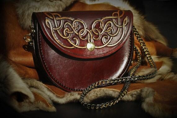 Fairy arabesques genuine tooled leather clutch handbag
