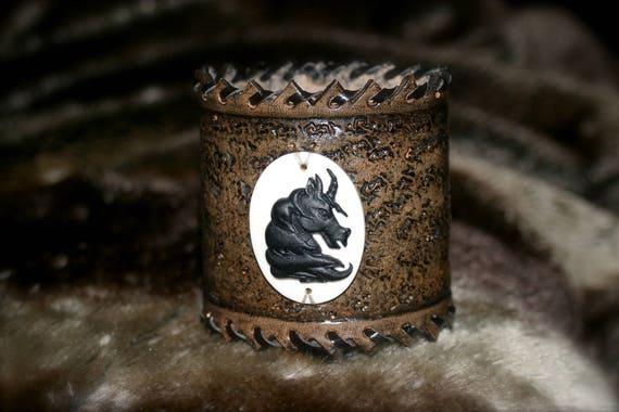 "Gothic Fantasy ""Black Unicorn"" leather Cuff Bracelet"