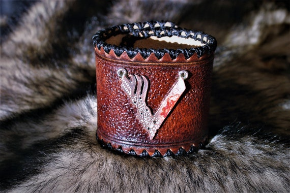 Leather bracelet, wrist cuff, Viking jewel for men, on request
