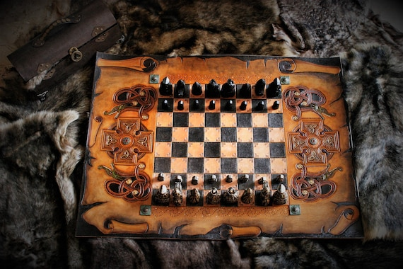 medieval Chessboard, leather chess, with Isle of lewis style pieces and storage, medieval, Viking, Celtic, Gaelic, luxury art
