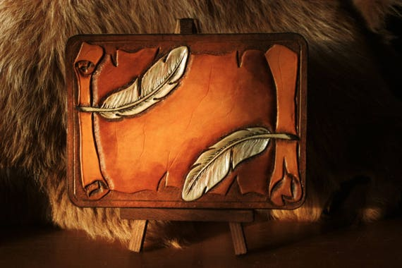 """Birthday card or mini greeting table tooled leather """"feathers on parchment trompe l'oeil"""""""