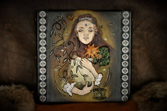 Fantasy art, wall decoration, painting on carved leather, Ophelia, from Shakespeare's work