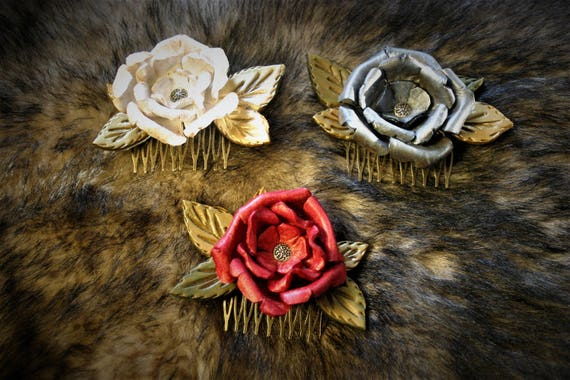 Hair comb, leather hairstyle, leather flower, for wedding, cosplay, entertainment