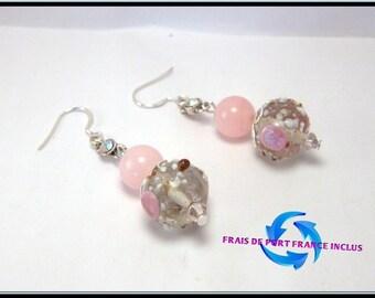 Speckled Crystal bead, pink jade and silver stud earrings.
