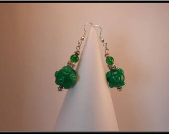 Planet Green polymer clay bead earrings.