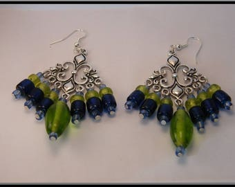Blue and green glass bead earrings.