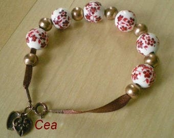 Porcelain and fabric bracelet