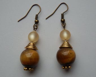 Earrings Tiger eye and polaris