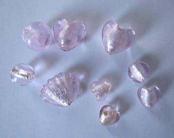 lot murano style pink beads