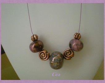 Ceramic purple and copper necklace