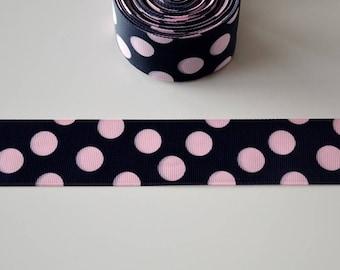 Black polka dot grosgrain Pink Ribbon 38mm