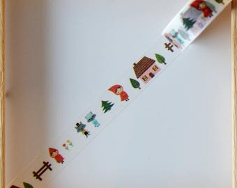 """Washi tape - """"Little Red Riding Hood"""" - 1.5 cm x 10 m"""