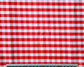 GINGHAM red and white vintage cotton fabric