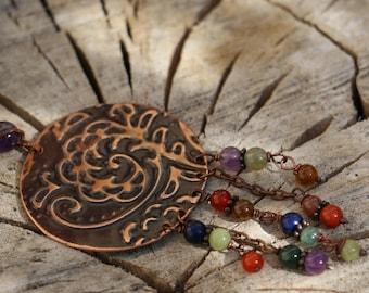 ON order fantasy boho, Bohemian, hippie, rustic, etched copper, gemstones, Amethyst, lapis lazuli, peridot, Carnelian, Jasper, agate, chic