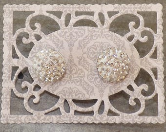 Silver rhinestone cabochon post earrings