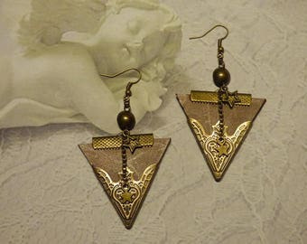 Pretty earrings ' ear vintage style brown leather