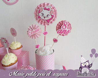 Hot pink Center piece - Marie cat - small dots and stripes