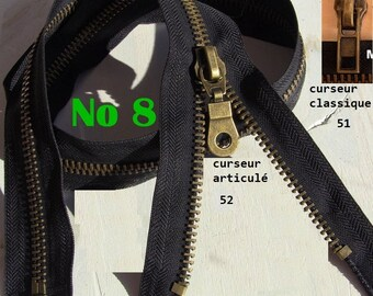 Large black zipper slide Metal Bronze 8 classic slider or reversible maxi 80cm