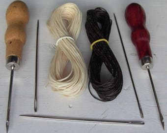 leather sewing kit 2 Alenes + 4 Needles + 16 meters of ultra resistant thread, ultra strong thread, solid thread
